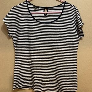 Talbots Black & White Striped Sequin Top ✨ Small